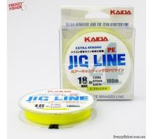 """Шнур """"JIG LINE"""" Kaida 4 жильн. (желтый) 100м  0,18мм SFK-50"""