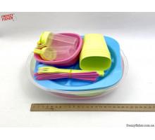 Набор посуды для пикника пластик на 4 персоны 36предм.